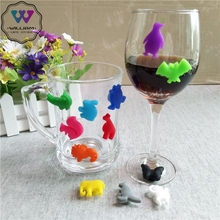 12 PCs/set Silicone Animal Cup Wine Glass Charms Party New Year Christmas Gift L