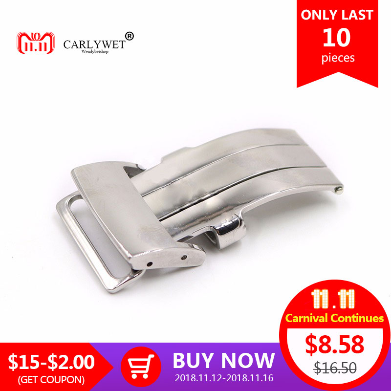 CARLYWET 20mm Silver Polished 316L Stainless Steel Watch Band Deployment Clasp For Less 3.2mm Leather Strap Belt For Breitling carlywet 13 17 19 20mm wholesale 316l stainless steel two tone rose gold silver watch band strap oyster bracelet for dayjust