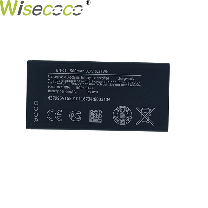 Wisecoco 2pcs New Original 1500mAh BYD BN-01 Battery For Nokia Lumia X 1045 <font><b>RM</b></font>-980 <font><b>RM</b></font> 980 X2 X+ Plus <font><b>1013</b></font> X2DS Phone +Track Code image