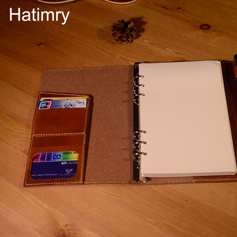 Hatimry A5 cuoio genuino formato A5 notebook per i viaggiatori fatti a mano a punto book scolastici jorunal notebook in pelle - 3