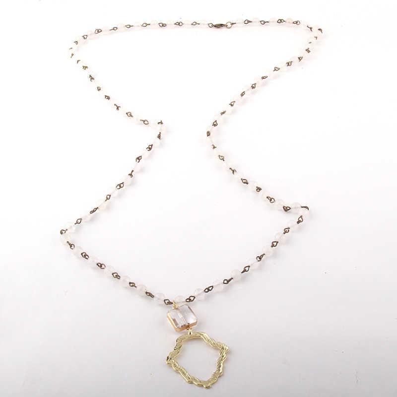 Модные богемные ювелирные изделия 6 мм камень розарийная цепь металлический кулон падение ожерелье s для женщин национальное ожерелье