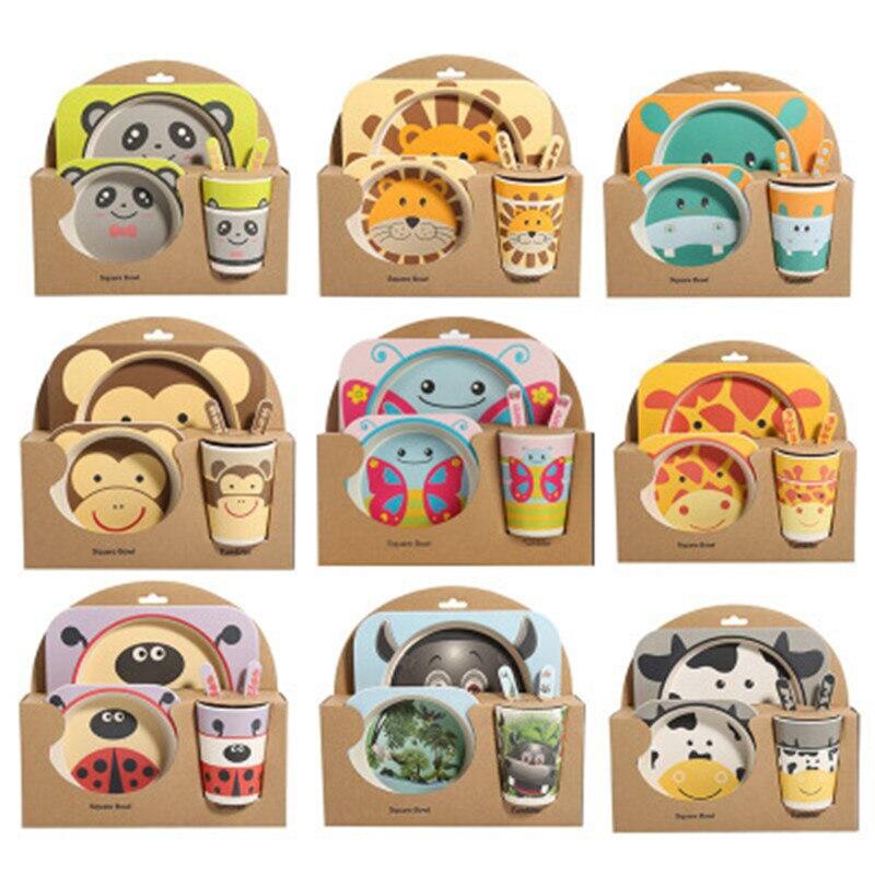 Ideacherry bebé 5 unids/set Bowl conjunto niño creativo Anti-caída vajilla de fibra de bambú para la alimentación partición platos vajilla regalos