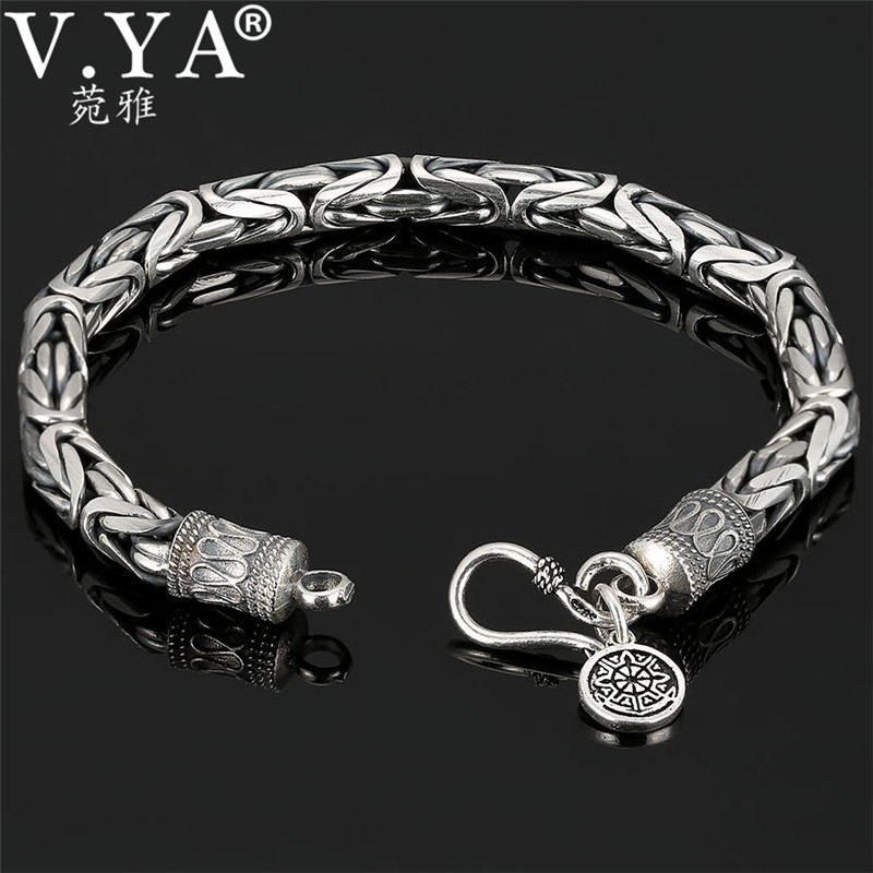 V.YA Genuine 100% Real Pure 925 Sterling Silver Thick Men Bracelet Safe Pattern Bracelet Free Shipping Men Fine Jewelry HYB04