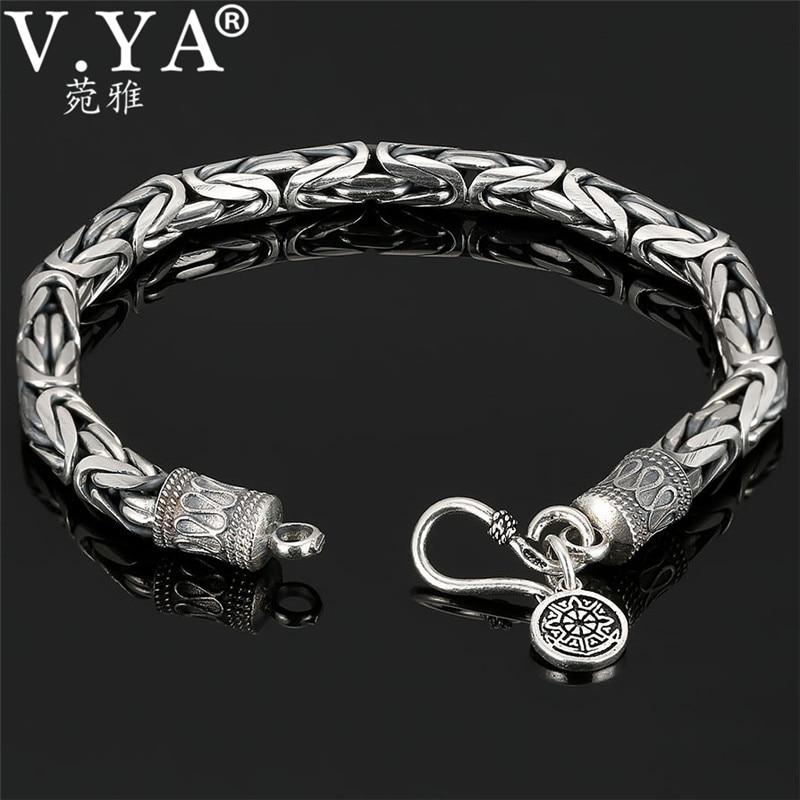 V.YA Genuine 100% Real Pure 925 Sterling Silver Thick Men Bracelet Safe Pattern Bracelet Free Shipping Men Fine Jewelry HYB04