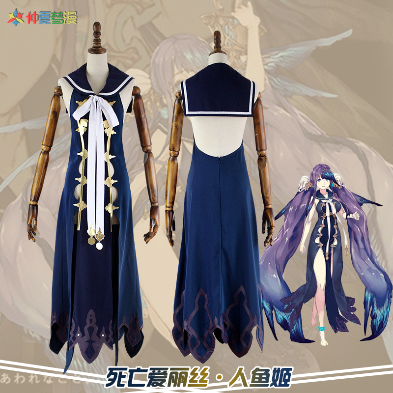 Game SINoALICE Alice Cosplay Costume Outfit Black Dress Suit Gown Lolita Dress
