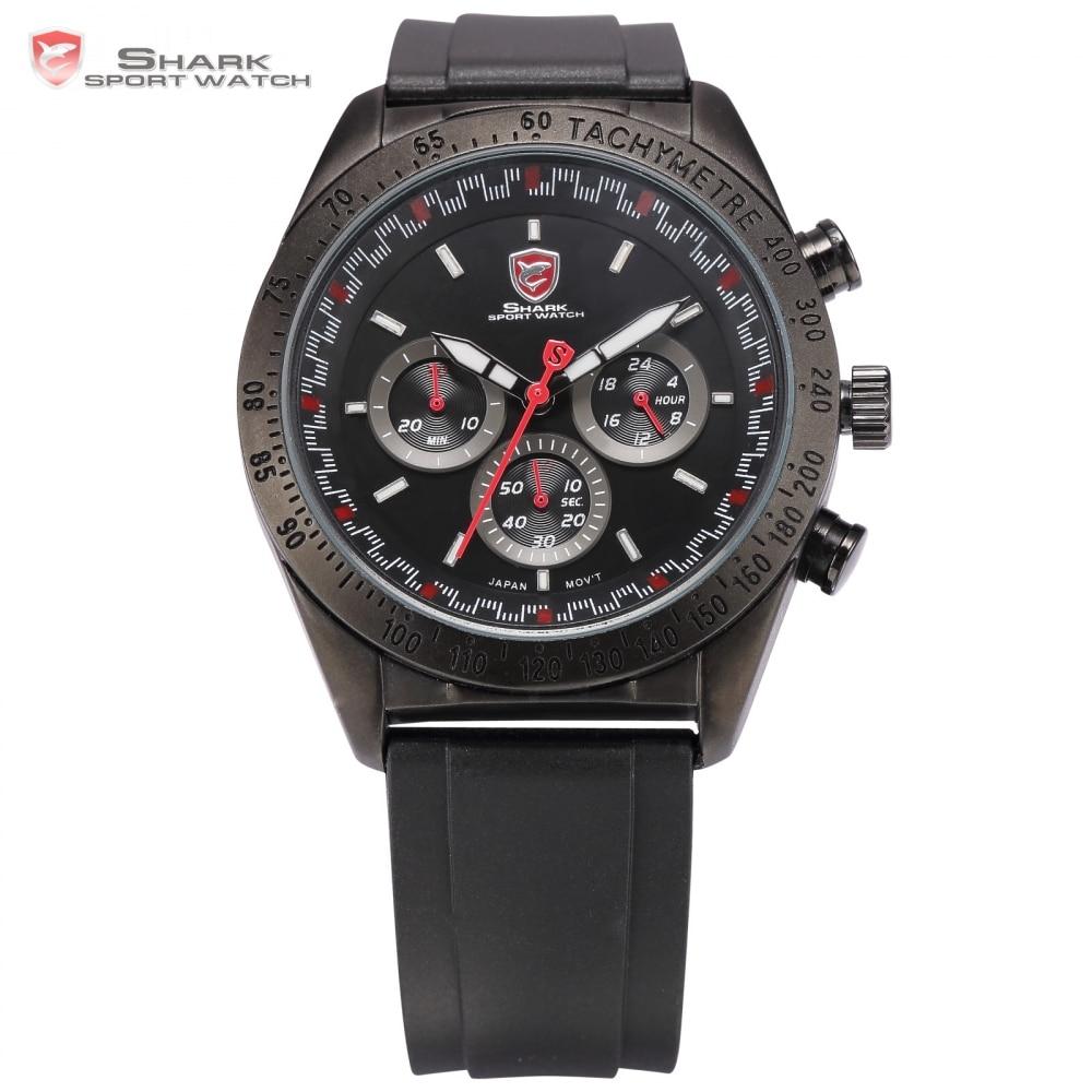 Swell Shark Sport Watch Tachymeter Bezel 24Hours Chronograph Black Red Dial <font><b>Rubber</b></font> <font><b>Band</b></font> Men <font><b>Racer</b></font> Car Military Wristwatch /SH271