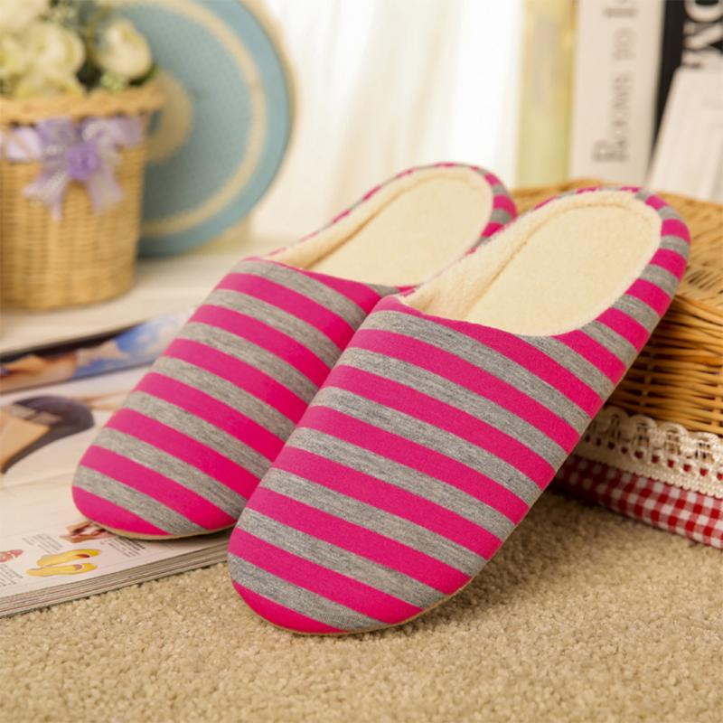 Winter Women Coral Velvet Slipper Housewarming Soft Slippers Home Indoor Cotton Striped Floor Plush Shoes Drop Shipping