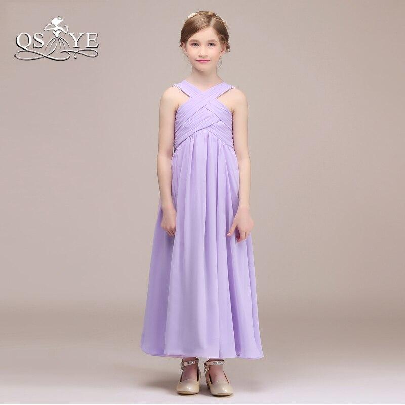 QSYYE filles violet clair robes de demoiselle d'honneur une ligne plis en mousseline de soie longueur de plancher robe de soirée pour mariage sur mesure - 2