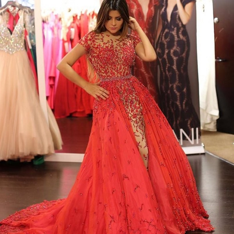Modest Red Embroidery Evening Dresses Over Skirt Crystal Tulle ...