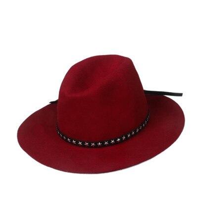 Новая модная женская мужская шерстяная шляпа fedora фетровая Панама женская элегантная мягкая Шляпа Дерби мягкая фетровая шляпа с кожаным брендом - Цвет: Wine Red