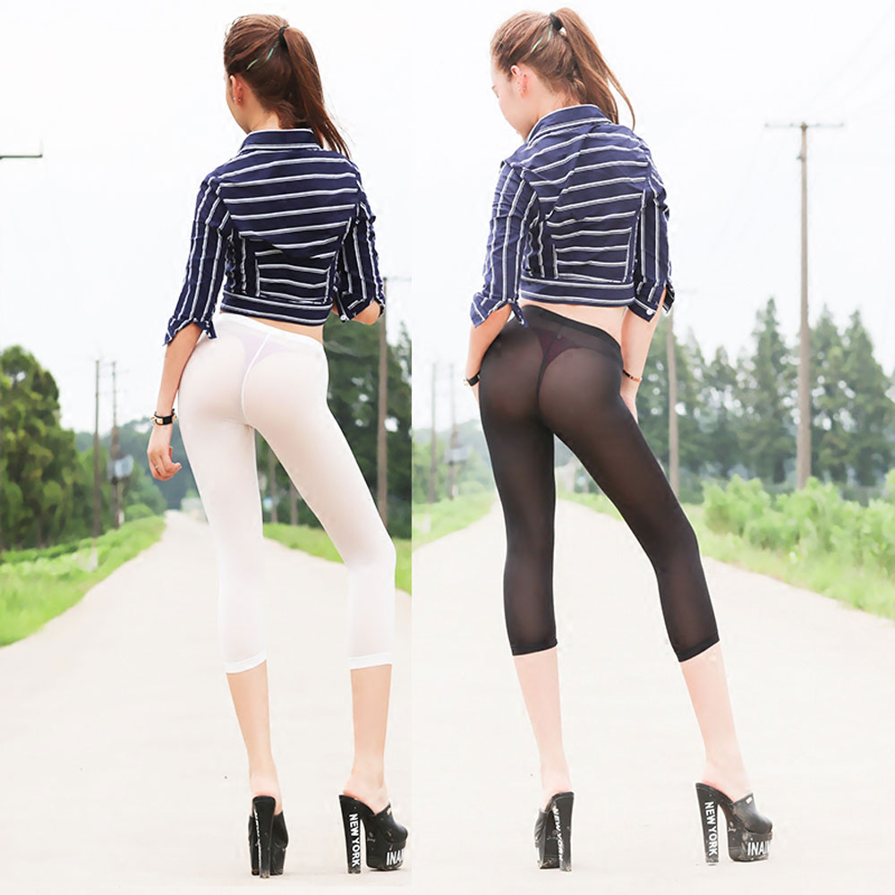 Sexy Ice Silk See Through Calf Length Pencil Pants Super Cropped Trousers Capris Nice Bottom Slim Hip Soft Legs Tights Fx