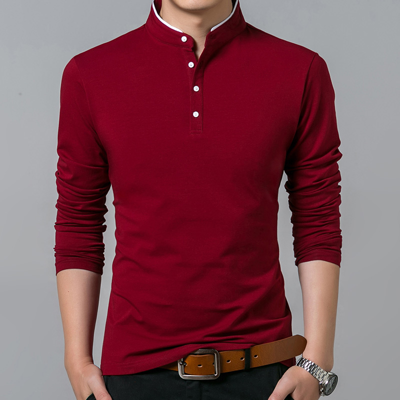 Liseaven T-Shirt Men Cotton T Shirt Full Sleeve tshirt Men Solid Color T-shirts tops&tees Mandarin Collar Long Shirt 1