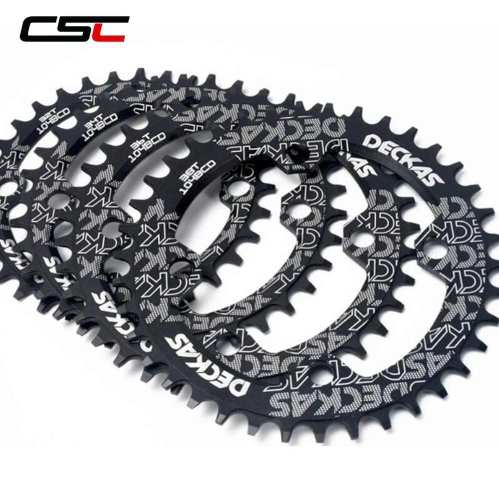 DECKAS Chainrings Chainwheel 104 BCD 32T 34T 36T 38T MTB bicicleta cadena redonda rueda ciclismo bicicleta de montaña Placa de bielas