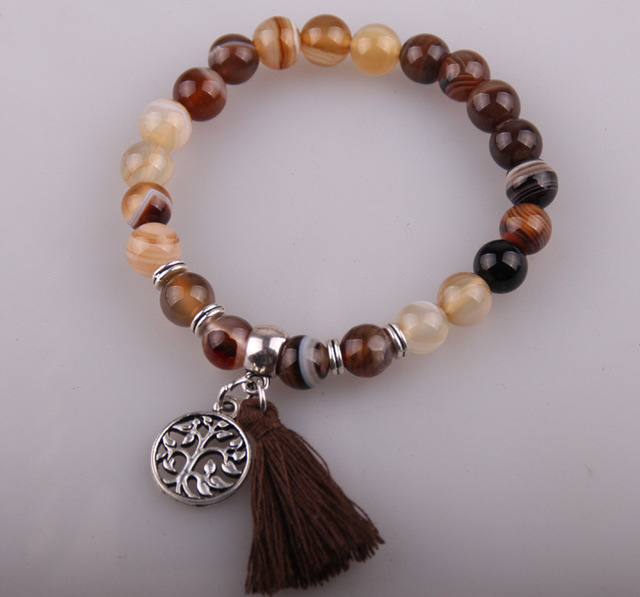 Fashion Women Dress Armband 8mm semi precious stone with tassel & antique silver fatima hand charm Natural Stones Bracelet