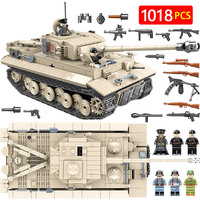 Military German King Tiger 131 Tank Building Blocks Legoingly WW2 Army Soldier Weapon 1018 Pcs Bricks Kits Education Toys for Bo
