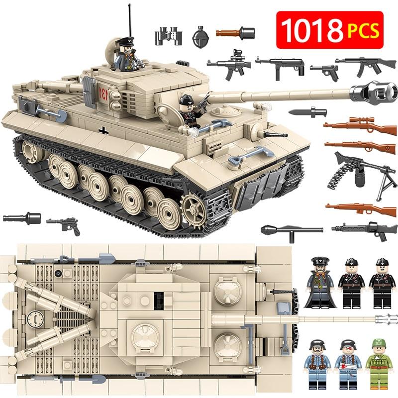 Militar Do Exército Alemão King Tiger 131 Tanque Blocos Legoingly WW2 Soldado Kits de Arma 1018 pcs Tijolos Educação Brinquedos para bo