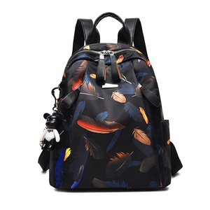 Image 2 - Anti thief Feather Print Backpack Female Oxford Cloth Waterproof Travel Casual Schoolbag  Brand Ladies Large Capacity Backpack