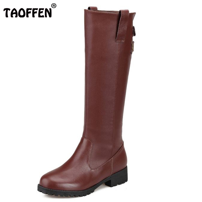 TAOFFEN Free shipping half  short natrual genuine leather high heel boots women snow warm boot shoes R4492 EUR size 34-43