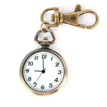 YCYS! Bronze Color Round Pendant Quartz Watch Pocket Keyring Ladies Kids Watch Gift Watch Xmas Gift
