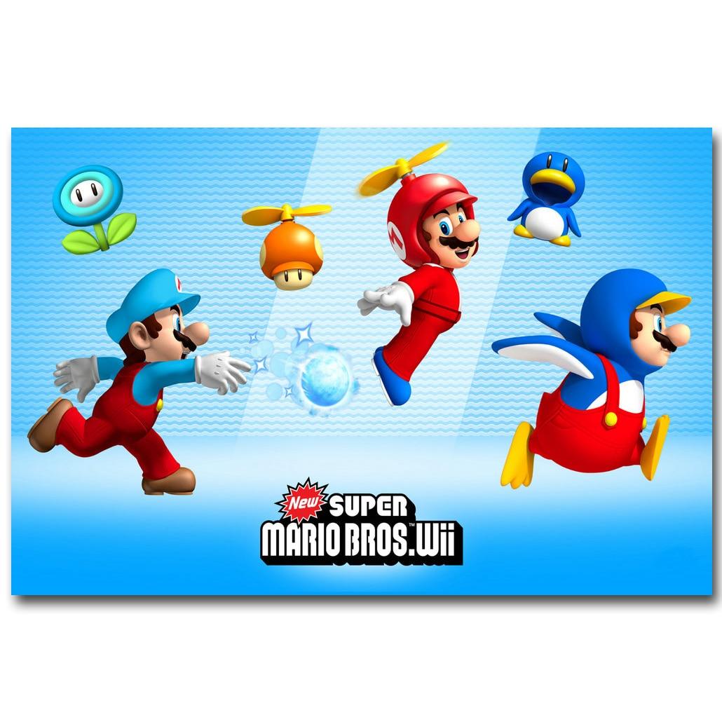 Super Mario Bros Wii Art Silk Fabric Poster Print 13x20