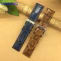 Quality Genuine Leather Watch band 18mm 20mm 22mm Retro bamboo Strap With Fine Steel Clasp For Mens and Women's