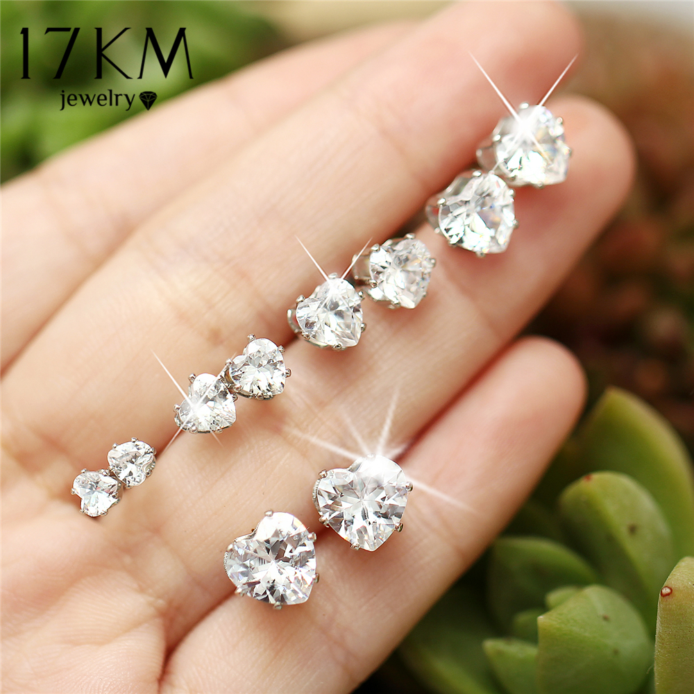 17KM Fashion Big Heart Stud Earrings Set For Woman New Silver Color Cubic Zirconia Geometric Earring Statement Jewelry Gifts gold big circle geometric statement stud earrings