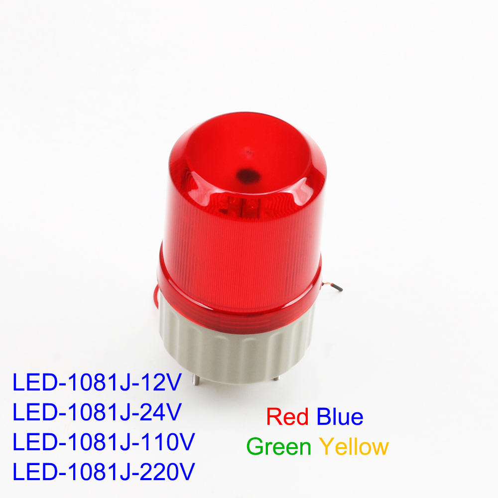 LED-1081J DC 12V 24V AC 110V 220V LED Rotating Industrial Signal Tower Warning Light Buzzer Sound Red Yellow Blue Green