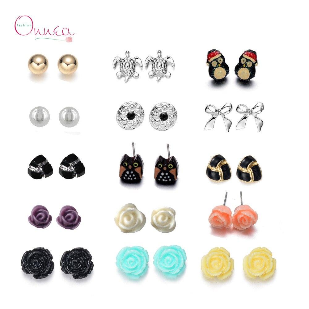 Onnea 15 Pairs Earrings Sets Enamel Rose Ball Stud Earrings For Women Hot Cute  Earring Sets