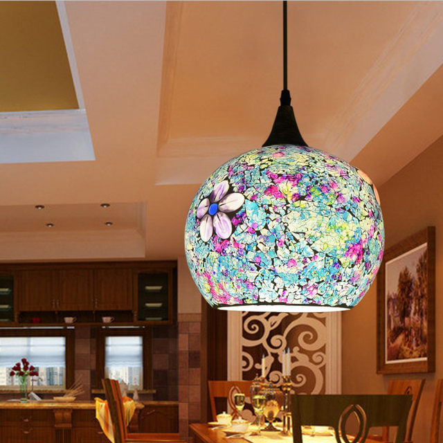 25cm Bohemian style glass lampshade Mediterranean multicolor pendant lamp  corridor for bedroom single-head