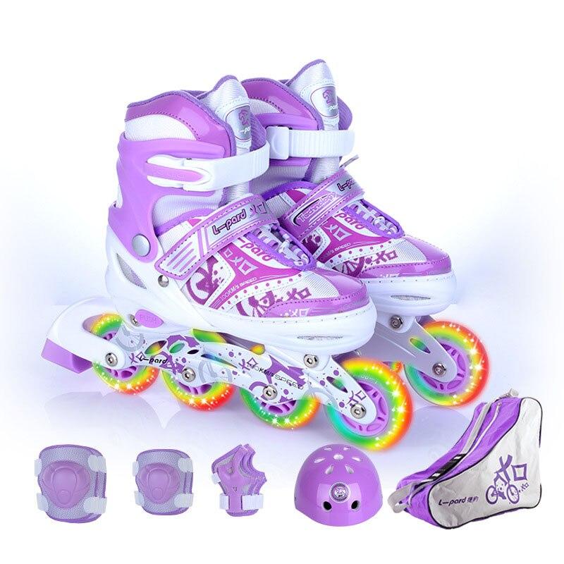 NEW 9 In 1 Children Inline Skate Roller Skating Shoes Helmet Knee Protector Gear Adjustable Washable Hard Flash Wheels Teenagers