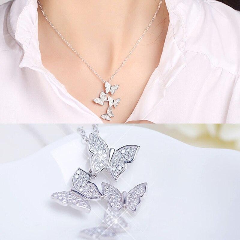 443b80835108f Toutes catégories Sterling Argent 925 Pendentif Collier Pour Les Femmes  bijoux fins Animal Papillon Avec Zircon ...