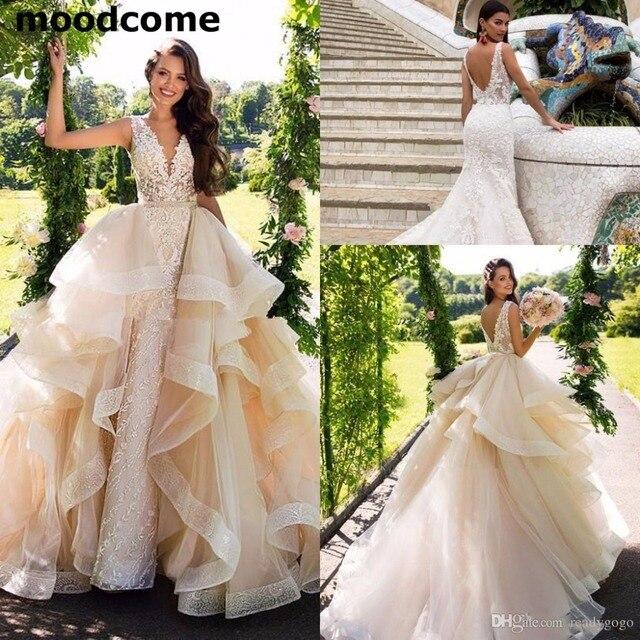 af596f8918c2f Detachable Train Mermaid Wedding Dresses 2019 Modest Lace Organza Garden  Dubai Arabic Overskirt Castle Wedding Bridal Gown