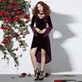 Rosetic Gothic Asymmetrische Kleid Appliques Pleuche Lila Frauen Frühling  Aufflackernhülse Mode elegantes party kleider vestidos f1a128b9d2