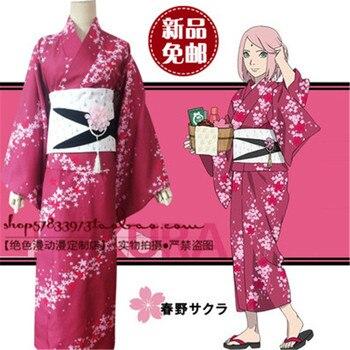 Hot Naruto Cosplay Costume Haruno Sakura Cosplay Printed Kimono Anime Cosplay Halloween Costumes Bathrobe for Women Girls
