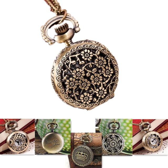 Womens Mens Quartz Pocket Watch 1 PC Floral Patterns Bronze Vintage Watch Neckla