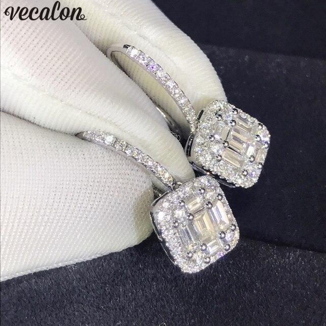 أقراط متدلية للسيدات أنيقة من Vecalon AAAAA Cz حقيقية من الفضة الإسترليني عيار 925 أقراط متدلية لحفلات الزفاف للنساء مجوهرات الزفاف