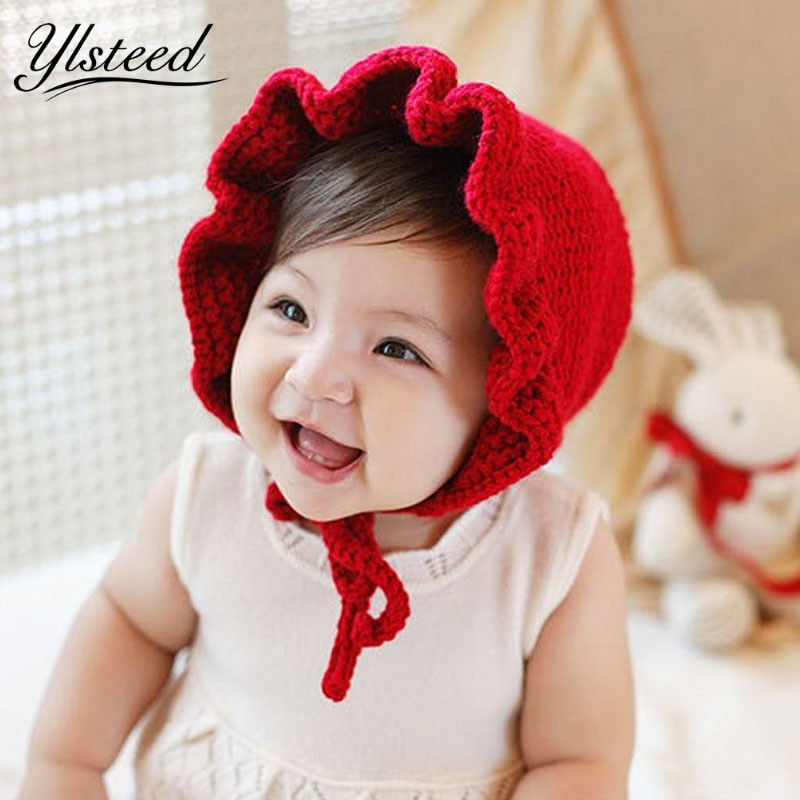 Winter Autumn Newborn Hat Lacing Kintted Hats Warm Baby Red Beanies For Christmas Baby Photo Props Fotografia Newborn
