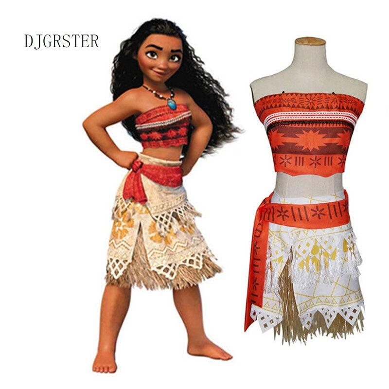 DJGRSTER Movie Princess Moana Costume For Kids Adult Women Moana Princess Dress Moana Halloween Cosplay Costume