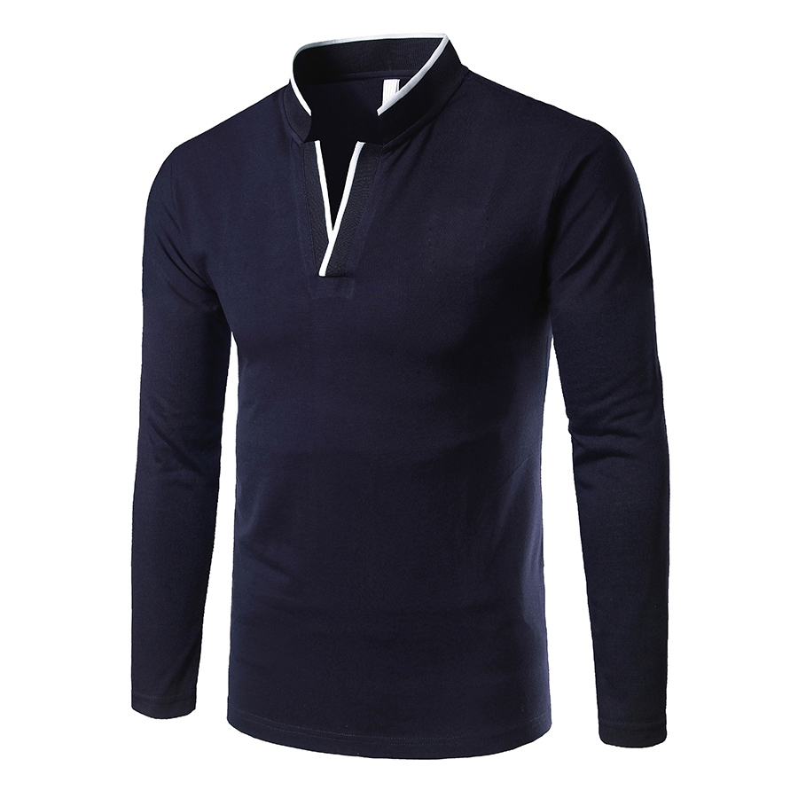 2019 New style fashion Male autumn High-grade pure cotton long sleeve   POLO   shirts/Men's slim v-neck leisure cotton   polo   shirts