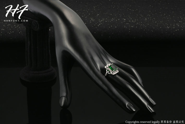 Sliver Gold Color Princess Cut Big Green Crystal Bijoux Fashion Ring Jewelry For Women As Promise Gift R496