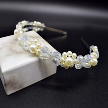 Luxury Crystal Crowns Cute Pearls Headband Hairbands Wedding Hair Accessories korean style women hair band Jewelry