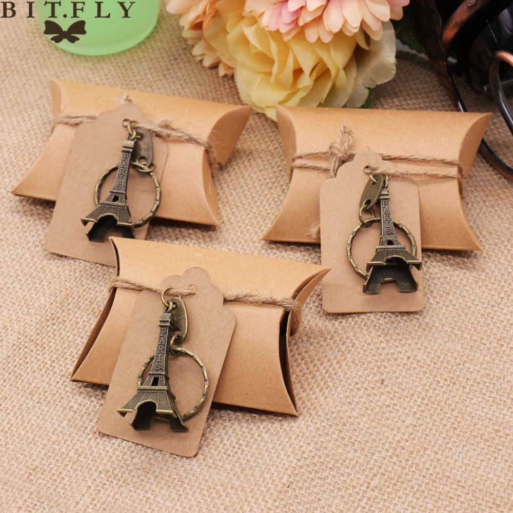 10pcs Wedding Souvenirs Favors And Guests Gifts Candy Box+Tags+Paris Eiffel Tower Keychain Rings Wedding Party Decorations