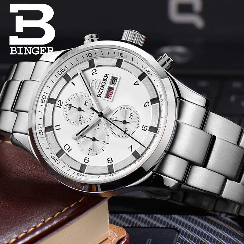 Image 5 - Switzerland Mens Watches Sapphire BINGER Watch Men Brand Luxury  Quartz Male Watch Waterproof Luminous Wristwatches ChronographQuartz  Watches