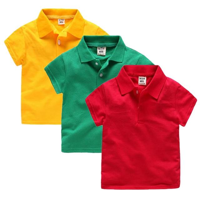 8f3acabb5 2018 جديد أزياء الأولاد قمصان بولو للأطفال الصيف الأطفال الملابس بلون القطن  قصيرة الأكمام الفتيان الفتيات