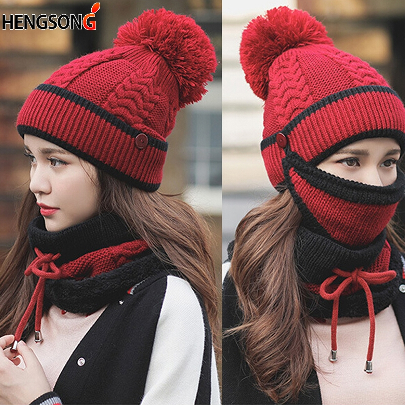 Autumn Winter Women's Hat Caps Knitted Warm Scarf Windproof Multi Functional Hat Scarf Set For Women