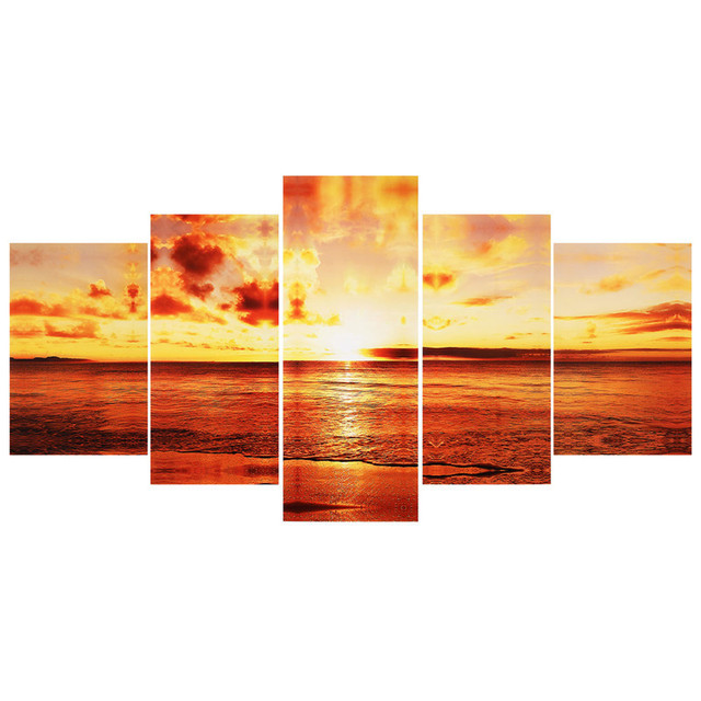 5pcs/set Large Seaside Sunset Canvas Wall Art Print Painting Picture ...