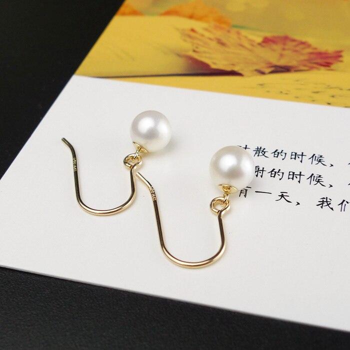 925 argento reale naturale grande luminoso speciale 8 9 MM d'acqua dolce naturale della perla orecchini orecchino femminile Coreano semplice ed elegante argento - 4