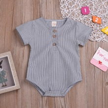 2019 Summer Baby Boys Girls Cotton Short Sleeve Striped