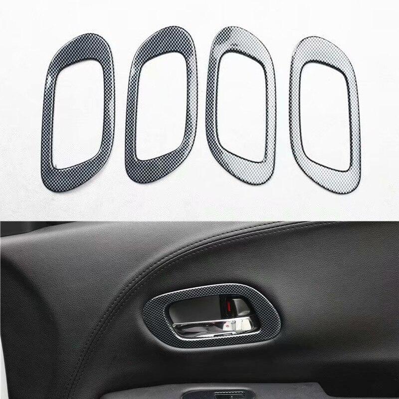 For Honda Vezel XRV 2015 2016 2017 Car Interior Door Handle Frame Trim Car Styling Accessories ABS Carbon Fiber Style 4Pcs