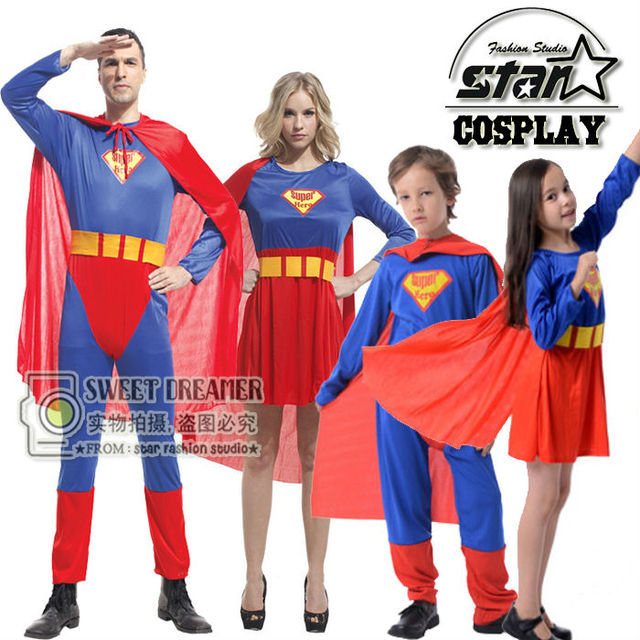Halloween Superman Costume For Family Matching Dad Mom Girls Boy Superhero Uniform Cosplay Party Cloak Superwomen Costume Dress